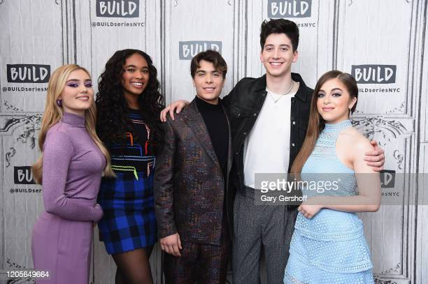 """Actors Meg Donnelly Chandler Kinney Pearce Joza Milo Manheim and Ariel Martin visit the Build Series to discuss the film """"Zombies 2"""" at Build Studio..."""