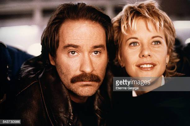 Actors Meg Ryan and Kevin Kline on the set of the film French Kiss directed by Lawrence Kasdan