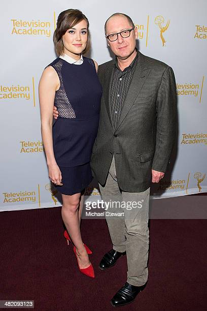 Actors Megan Boone and James Spader attend an evening with 'The Blacklist' at Florence Gould Hall on April 2 2014 in New York City