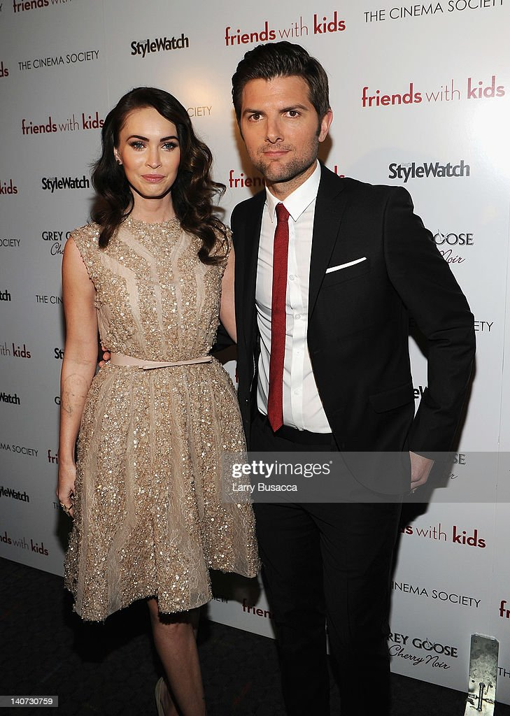 Actors Megan Fox and Adam Scott attend the Cinema Society & People StyleWatch with Grey Goose screening of 'Friends With Kids' at the SVA Theater on March 5, 2012 in New York City.