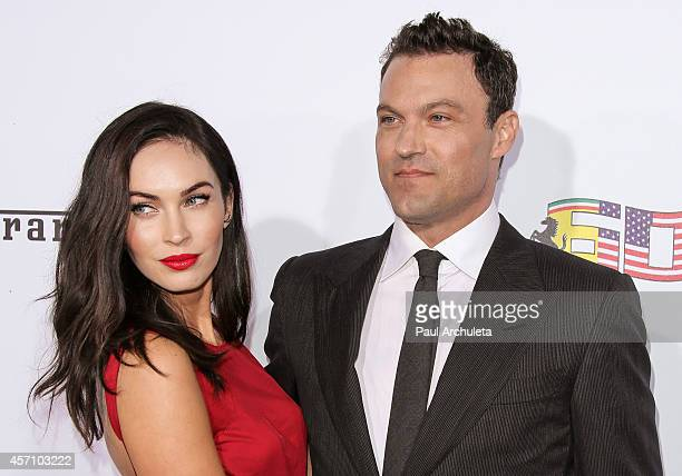 Actors Megan Fox and Brian Austin Green attend Ferrari's 60th Anniversary In The USA Gala at the Wallis Annenberg Center for the Performing Arts on...