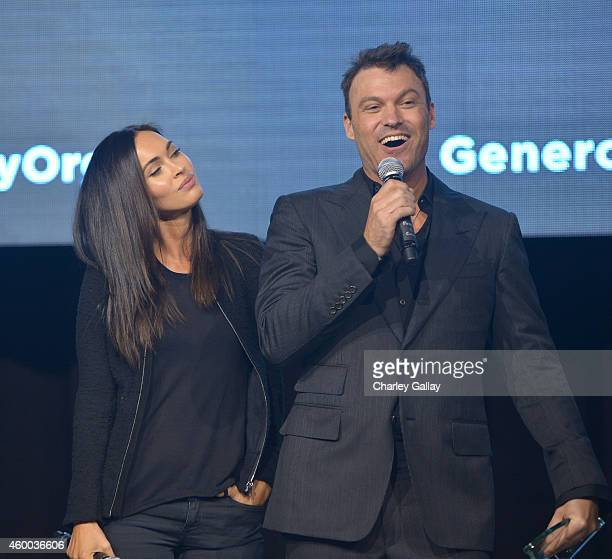 Actors Megan Fox and Brian Austin Green speak on stage at the 6th Annual Night of Generosity Gala presented by generosityorg at the Beverly Wilshire...