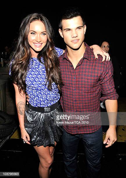 Actors Megan Fox and Taylor Lautner attend the 2010 Teen Choice Awards at Gibson Amphitheatre on August 8 2010 in Universal City California