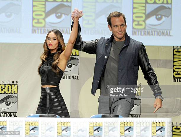 Actors Megan Fox and Will Arnett attend the Paramount Studios presentation during ComicCon International 2014 at the San Diego Convention Center on...