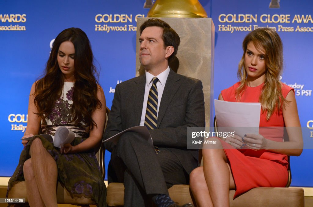 Actors Megan Fox, Ed Helms, and Jessica Alba onstage during the 70th Annual Golden Globes Awards Nominations at the Beverly Hilton Hotel on December 13, 2012 in Los Angeles, California.