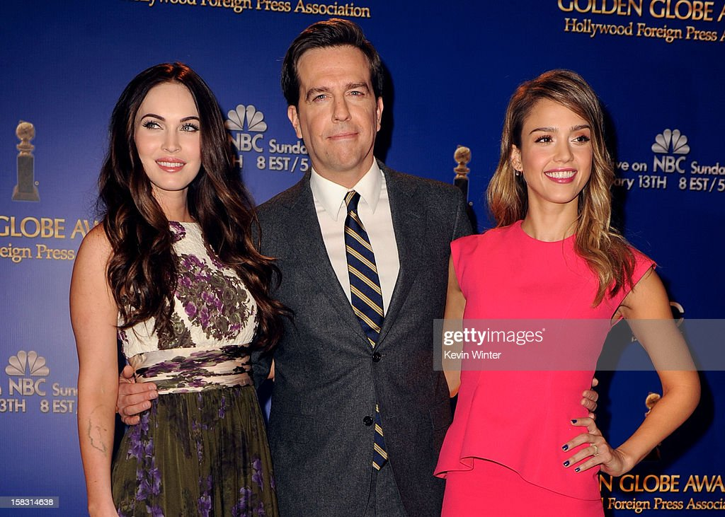 Actors Megan Fox, Ed Helms, and Jessica Alba pose onstage during the 70th Annual Golden Globes Awards Nominations at the Beverly Hilton Hotel on December 13, 2012 in Los Angeles, California.