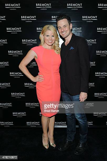 Actors Megan Hilty and Brian Gallagher attend Bremont Watches NYC Boutique opening with unveiling of America's Cup at Bremont Boutique on June 23...