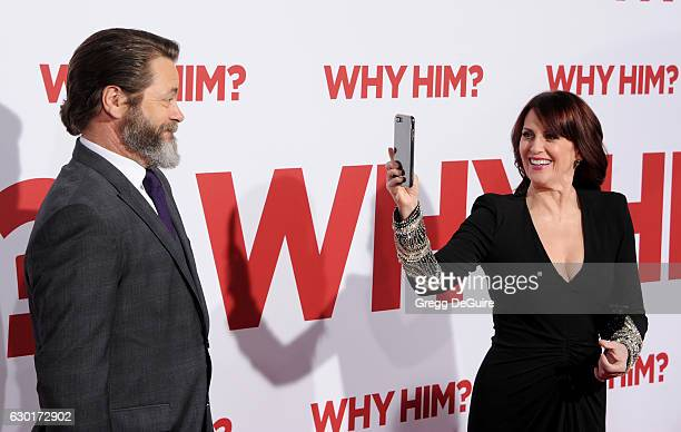 Actors Megan Mullally and husband Nick Offerman arrive at the premiere of 20th Century Fox's Why Him at Regency Bruin Theater on December 17 2016 in...