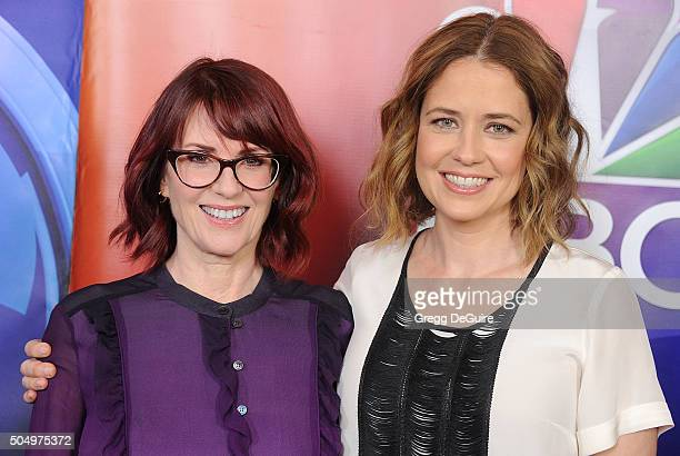 Actors Megan Mullally and Jenna Fischer arrive at the 2016 NBCUniversal Winter TCA Press Tour at Langham Hotel on January 13 2016 in Pasadena...