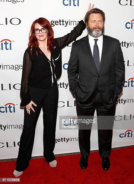 Actors Megan Mullally and Nick Offerman attend the 2016 Clio Awards at the American Museum of Natural History on September 28 2016 in New York City