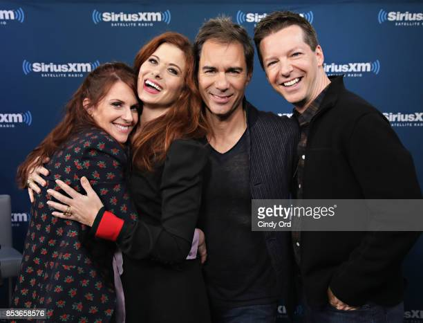 Actors Megan Mullally Debra Messing Erik McCormack and Sean Hayes take part in SiriusXMÕs ÔTown HallÕ with the cast of ÔWill GraceÕ hosted by Andy...