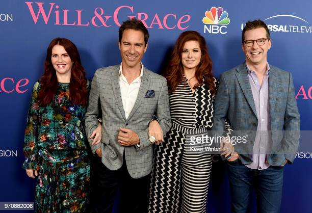 Actors Megan Mullally Eric McCormack Debra Messing and Sean Hayes arrive at NBC's Will Grace FYC Event at the Harmony Gold Theatre on June 9 2018 in...