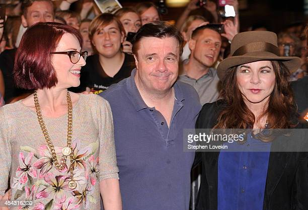 """Actors Megan Mullally, Nathan Lane, and Stockard Channing attend the """"It's Only A Play"""" first performance at The Schoenfeld Theatre on August 28,..."""