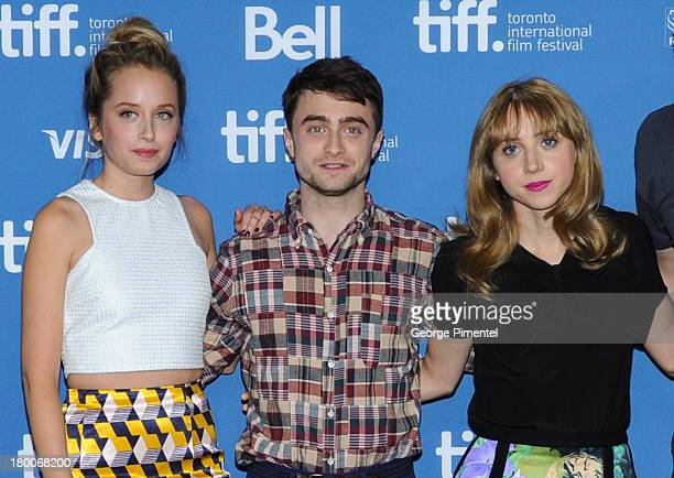 Actors Megan Park Daniel Radcliffe and Zoe Kazan attend 'The F Word' Press Conference during the 2013 Toronto International Film Festival at TIFF...