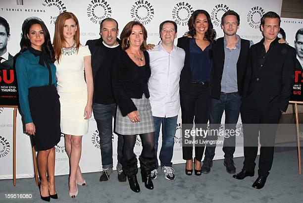 Actors Meghan Markle Sarah Rafferty and Rick Hoffman Universal Cable Productions COO Beth Roberts executive producer Aaron Korsh and actors Gina...