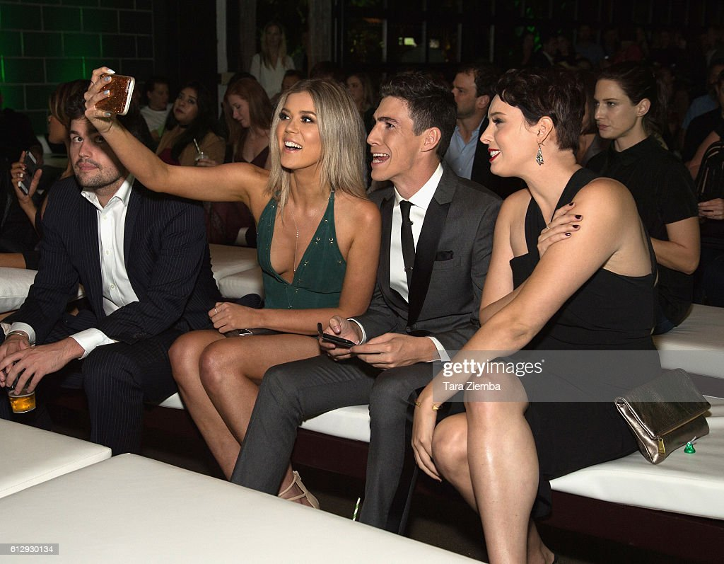 Premiere of hulus actors meghan rienks l and tyler chase take a selfie at the premiere of kristyandbryce Gallery
