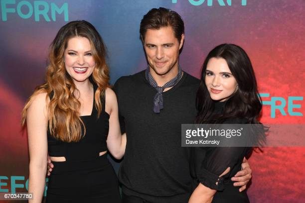 Actors Meghann Fahy Sam Page and Katie Stevens of The Bold Type attend Freeform 2017 Upfront at Hudson Mercantile on April 19 2017 in New York City