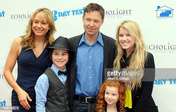 Actors Megyn Price Aidan Potter George Newbern Francesca Capaldi and Taylor Spreitler arrive at the screening of '3 Day Test' held at Downtown...