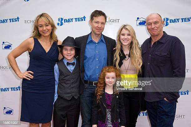 Actors Megyn Price Aidan Potter George Newbern Francesca Capaldi Taylor Spreitler and Corbin Bernsen attend the Los Angeles Premiere of '3 Day Test'...