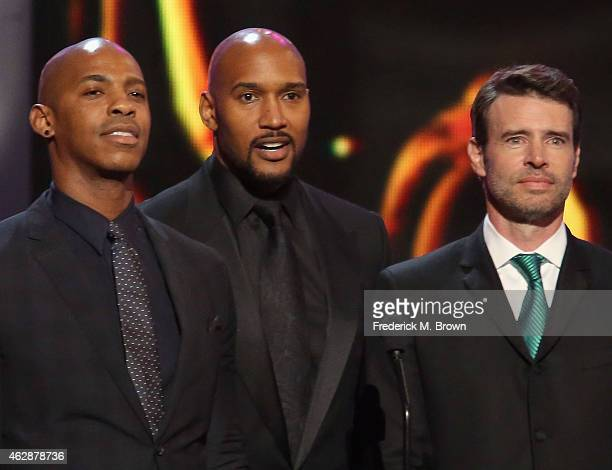 Actors Mehcad Brooks Henry Simmons and Scott Foley speak onstage during the 46th NAACP Image Awards presented by TV One at Pasadena Civic Auditorium...