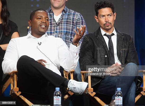 Actors Mekhi Phifer and Anthony Ruivivar speak onstage at the 'Frequency' panel discussion during The CW portion of the 2016 Television Critics...