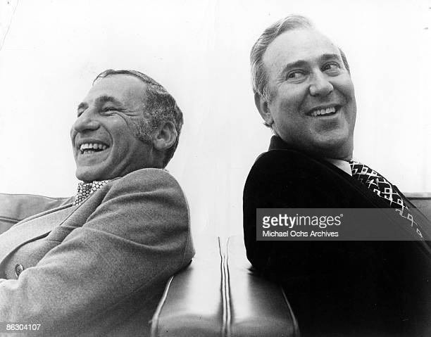 Actors Mel Brooks and Carl Reiner pose for a publicity portrait for their program '2000 And Thirteen Year Old Man' in 1974