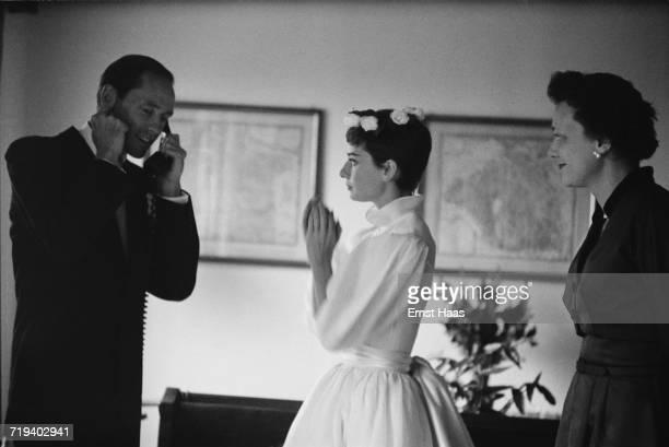 Actors Mel Ferrer and Audrey Hepburn on their wedding day Burgenstock Switzerland 25th September 1954 Hepburn's dress is by Balmain