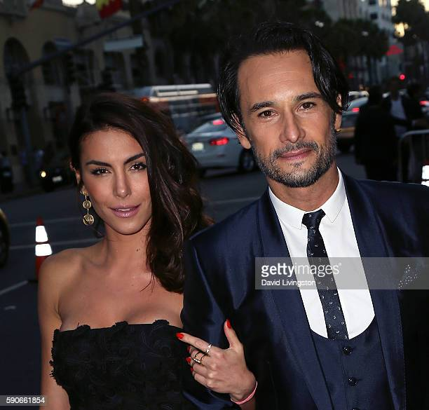Actors Mel Fronckowiak and Rodrigo Santoro attend the premiere of Paramount Pictures' 'BenHur' at the TCL Chinese Theatre IMAX on August 16 2016 in...