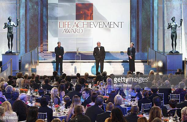 Actors Mel Gibson and Julie Andrews present the Life Achievemant Award to James Garner at the 11th Annual Screen Actors Guild Awards show at the...