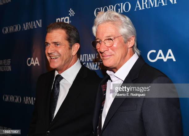 Actors Mel Gibson and Richard Gere attend the 2nd Annual Sean Penn and Friends Help Haiti Home Gala benefiting J/P HRO presented by Giorgio Armani at...