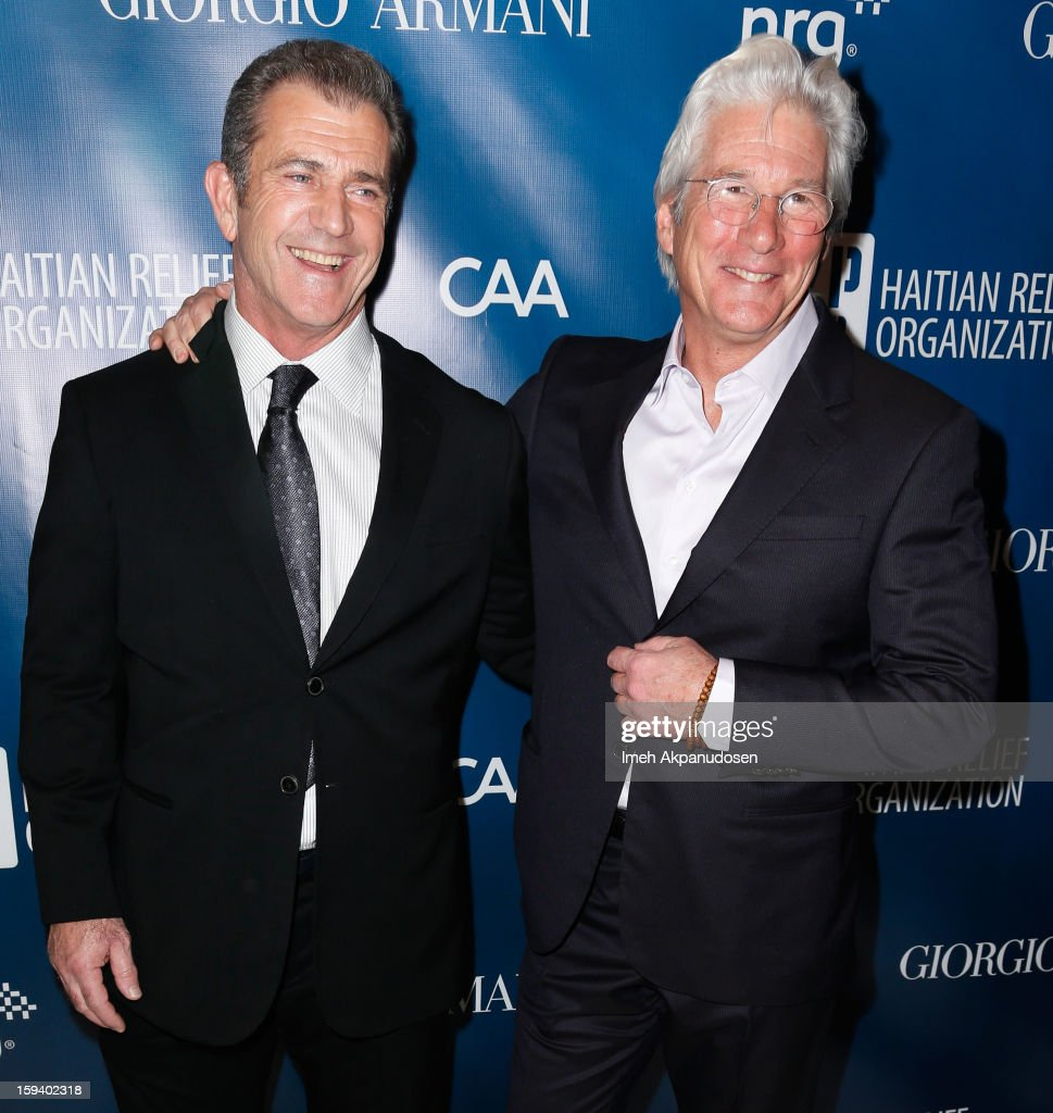 Actors Mel Gibson (L) and Richard Gere attend the 2nd Annual Sean Penn and Friends Help Haiti Home Gala benefiting J/P HRO presented by Giorgio Armani at Montage Hotel on January 12, 2013 in Los Angeles, California.