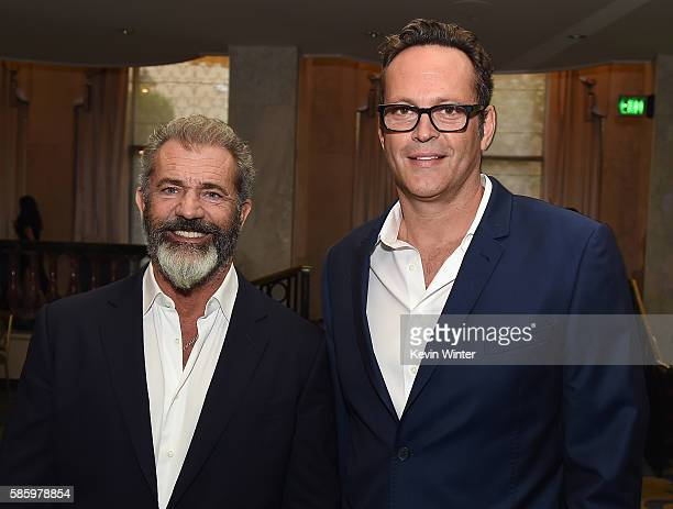 Actors Mel Gibson and Vince Vaughn attend the Hollywood Foreign Press Association's Grants Banquet at the Beverly Wilshire Four Seasons Hotel on...
