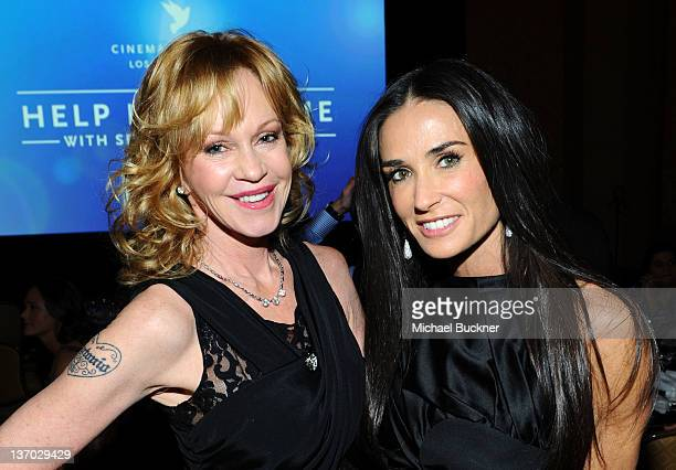 Actors Melanie Griffith and Demi Moore attend the Cinema For Peace event benefitting J/P Haitian Relief Organization in Los Angeles held at Montage...
