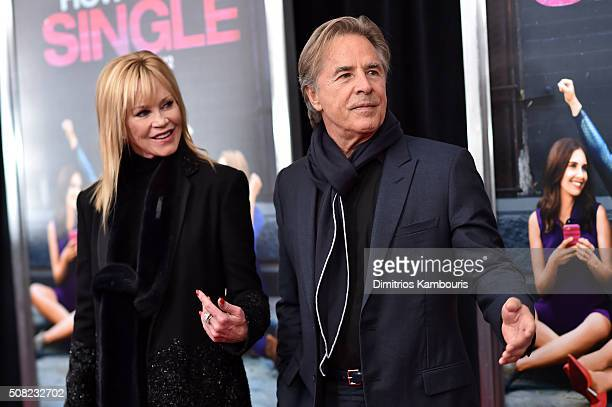 """Actors Melanie Griffith and Don Johnson attend the New York premiere of """"How To Be Single"""" at the NYU Skirball Center on February 3, 2016 in New York..."""