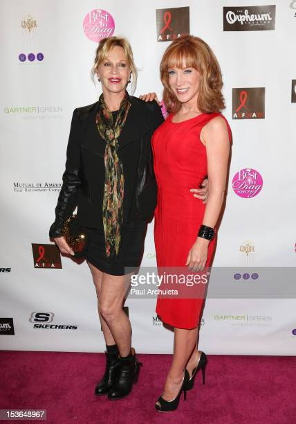 """Actors Melanie Griffith and Kathy Griffin attend the 2012 """"Best In Drag"""" show benefiting aid for AIDS at Orpheum Theatre on October 7, 2012 in Los..."""