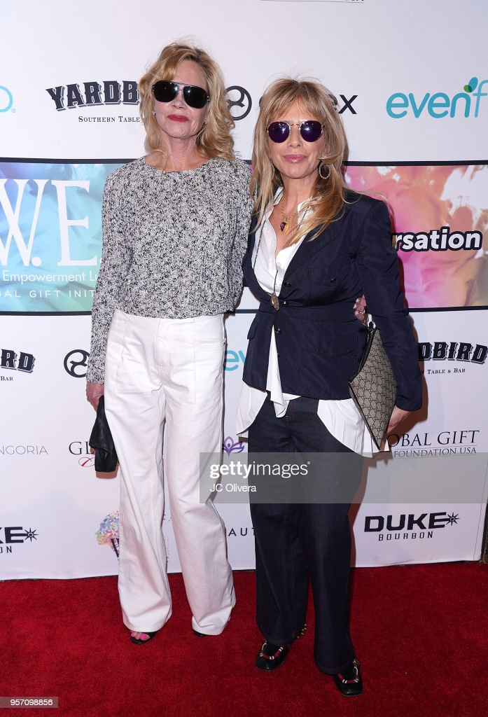 Actors Melanie Griffith (L) and Rosanna Arquette attend the Global Gift Foundation USA Women's Empowerment luncheon and speaker panel in support of the Eva Longoria Foundation at Yardbird Southern Table & Bar on May 10, 2018 in Los Angeles, California.