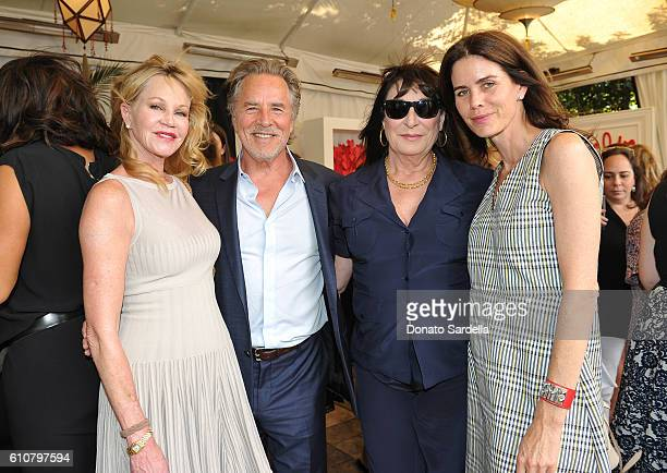 Actors Melanie Griffith Don Johnson Anjelica Huston and Kelley Phleger attend Revlon's Annual Philanthropic Luncheon at Chateau Marmont on September...