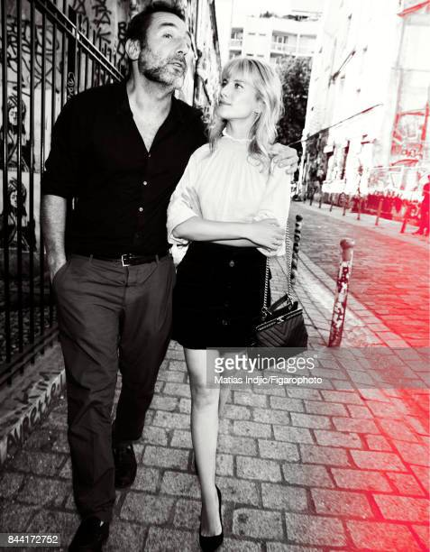 Actors Melanie Laurent and Gilles Lellouche are photographed for Madame Figaro on July 6 2017 in Paris France Lellouche Outfit personal Laurent Top...
