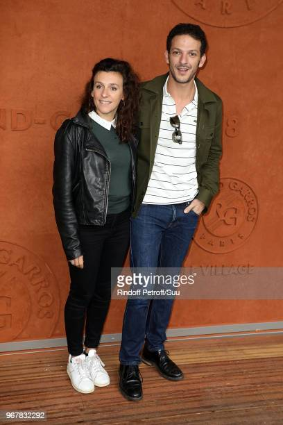 Actors Melanie Le Moine and Vincent Dedienne attend the 2018 French Open Day Ten at Roland Garros on June 5 2018 in Paris France
