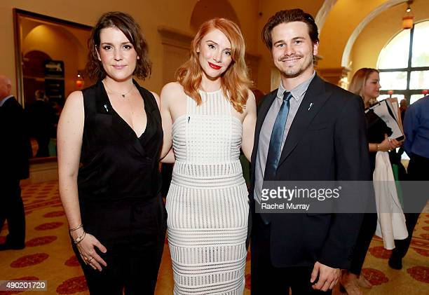 Actors Melanie Lynskey Bryce Dallas Howard and Jason Ritter attend the 4th Annual RARE Tribute To Champions Of Hope Gala on September 26 2015 in...