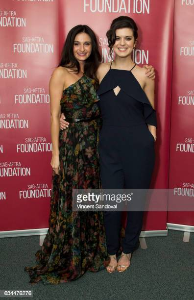 Actors Melanie Papalia and Priscilla Faia attend SAGAFTRA Foundation's Conversations with 'You Me Her' at SAGAFTRA Foundation Screening Room on...