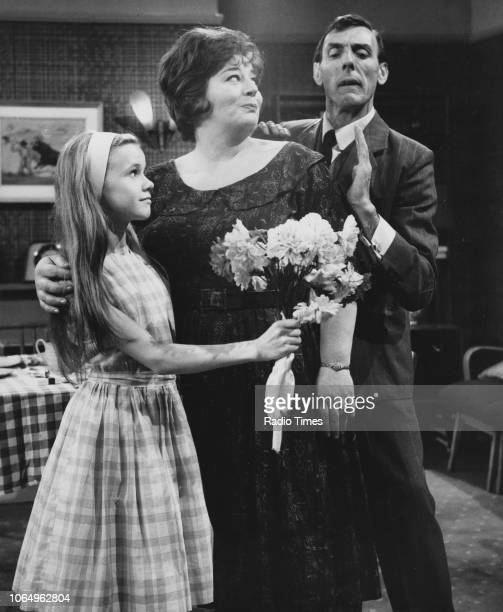 Actors Melanie Parr Hattie Jacques and Eric Sykes in a scene from the television sitcom episode 'Sykes and a Menace' July 12th 1963