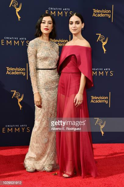 Actors Melissa Barrera and Mishel Prada attend the 2018 Creative Arts Emmy Awards at Microsoft Theater on September 8 2018 in Los Angeles California