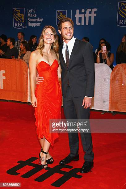 Actors Melissa Benoist and Blake Jenner attend the The Edge of Seventeen premiere held at Roy Thomson Hall during the Toronto International Film...
