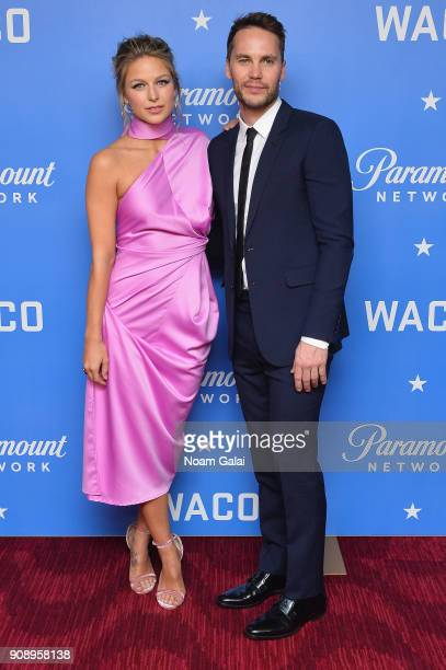 Actors Melissa Benoist and Taylor Kitsch attend the world premiere of WACO presented by Paramount Network at Jazz at Lincoln Center on January 22...