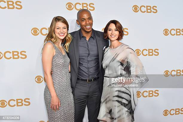 Actors Melissa Benoist Mehcad Brooks and Chyler Leigh attend the 2015 CBS Upfront at The Tent at Lincoln Center on May 13 2015 in New York City