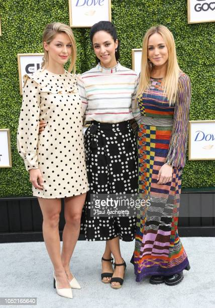Actors Melissa Benoist Tala Ashe and Caity Lotz attend the CW Network's fall launch event at Warner Bros Studios on October 14 2018 in Burbank...
