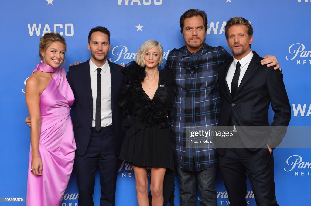 Actors Melissa Benoist, Taylor Kitsch, Andrea Riseborough, Michael Shannon, and Paul Sparks attend the world premiere of WACO presented by Paramount Network at Jazz at Lincoln Center on January 22, 2018 in New York City.
