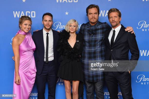 Actors Melissa Benoist Taylor Kitsch Andrea Riseborough Michael Shannon and Paul Sparks attend the world premiere of WACO presented by Paramount...