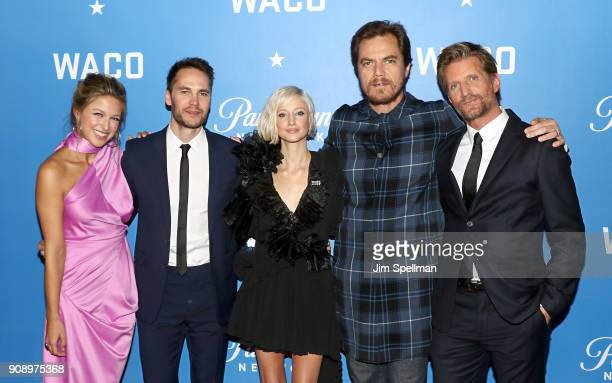 Actors Melissa Benoist Taylor Kitsch Andrea Riseborough Michael Shannon and Paul Sparks attend the 'Waco' world premiere at Jazz at Lincoln Center on...